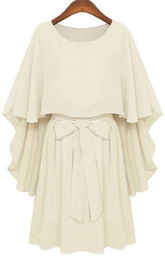 Round Neck Bow Tie Waist Cape Top Chiffon Dress