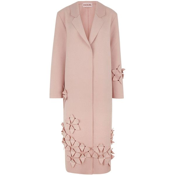 Paskal Blush 3-D Flower Embellished Coat ($590) ❤ liked on Polyvore featuring outerwear, coats, reversible coat, long sleeve coat, flower coat, embellished coat and boyfriend coat