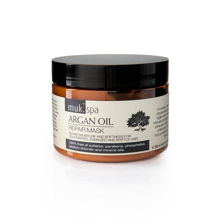 MUK Spa Argan Oil Repair Mask 250ml (Hair Mask for dehydrated, damaged and brittle hair) Adds moisture and shine. Free of sulphates, parabens, silicone oils, phosphates, sodium chloride and mineral oils.