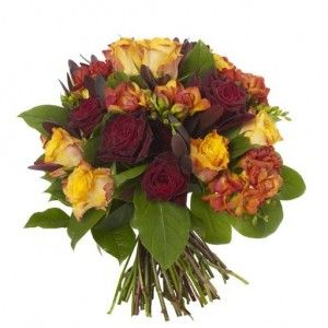 Freesia and Rose Bouquet - Freesias, Grand Prix red Roses and Marie Claire Roses