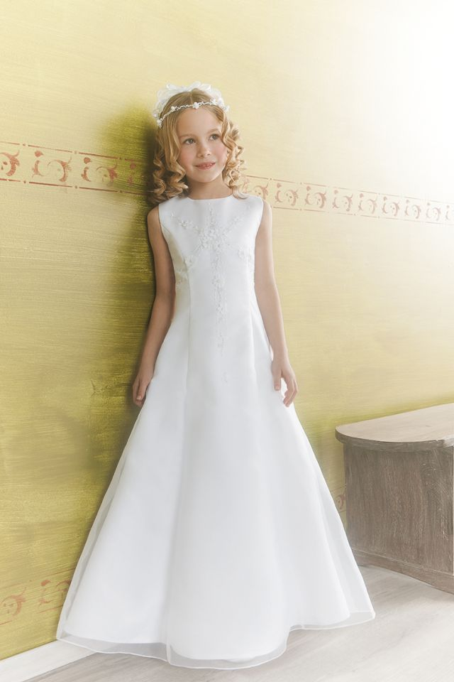 Emmerling First Holy Communion Dress  -  70119 - Full Length A-line Satin and Organza Daisy Flowers and Bugle Beads -  New 2014  - Girls First Communion Dress Shop Ascot