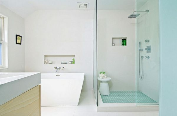 schick  badewanne glas duschkabine moderne Beistelltische