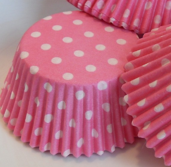 Pink and White Polka Dot Cupcake Liners Baking by BakersBlingShop, $3.50