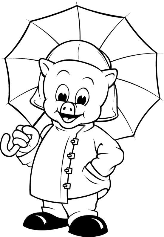 raincoat pig coloring page