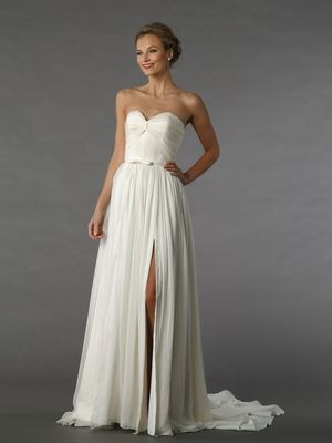Sweetheart A-Line Wedding Dress  with Natural Waist in Chiffon. Bridal Gown Style Number:33129628