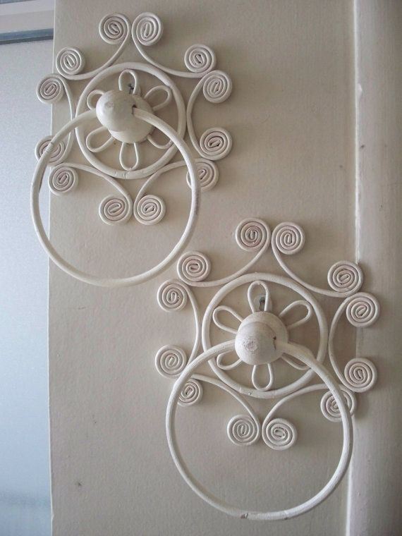 Vintage Ornate White Wicker Scroll Towel Holder Rack Shabby Chic Cottage Decor 2 AVAILABLE