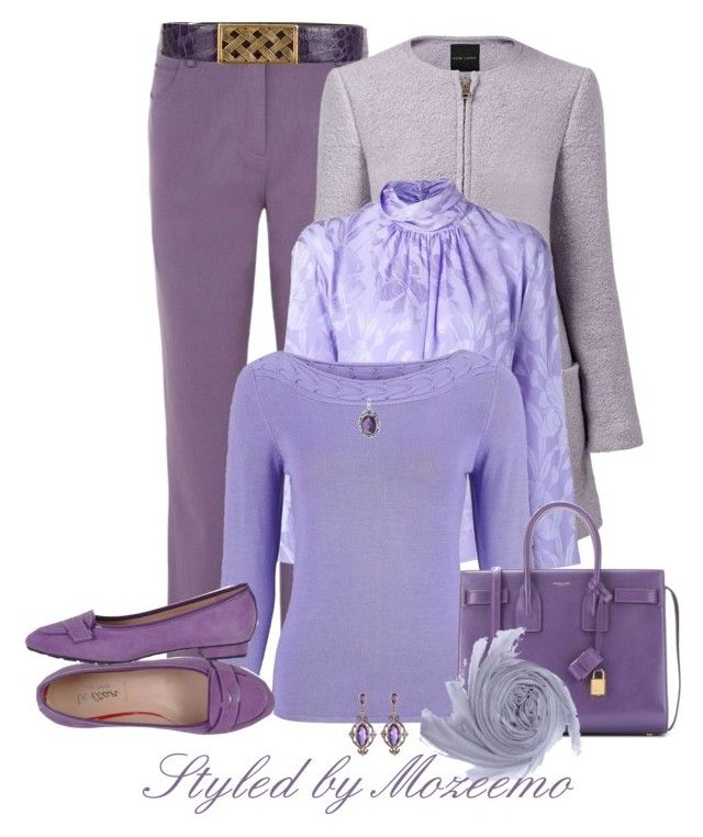 """Lilac & Lavender Jeans Outfit"" by mozeemo ❤ liked on Polyvore featuring Viyella, Oscar de la Renta, Nina Ricci, Minuet Petite, Yves Saint Laurent, Dabakarov, lavender, lilac, jeansoutfit and lavenderandlilac"