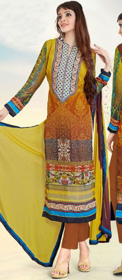USD 27.09 Yellow Georgette Abstract Print Churidar Suit 43344