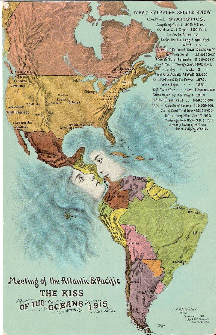"""panama canal, """"the kiss of the oceans"""" - meeting of the atlantic & pacific, 1915"""