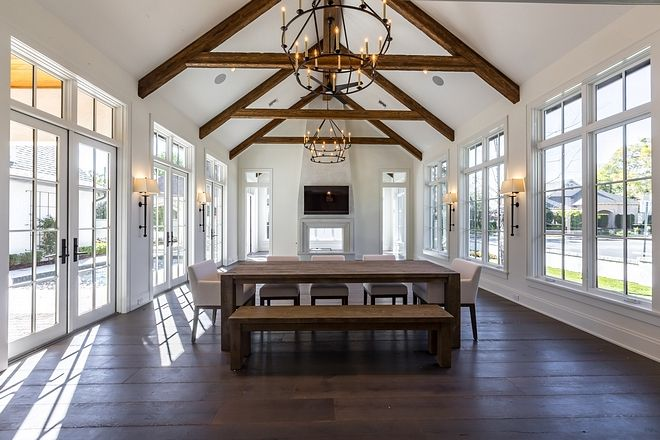 Dining Room And Great Room With Breathtaking Cathedral Ceilings And Floor To Ceiling Windows And House Design Cathedral Ceiling Living Room Country Style Homes