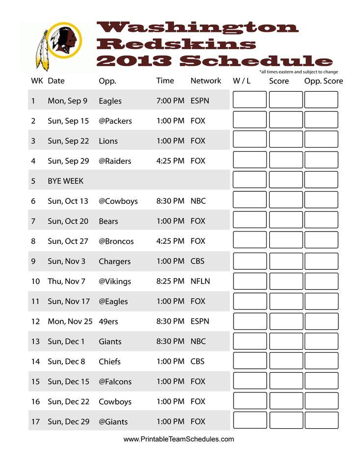 redskins schedule 2013 printable   Printable Washington Redskins Schedule 2013 - Printer Friendly