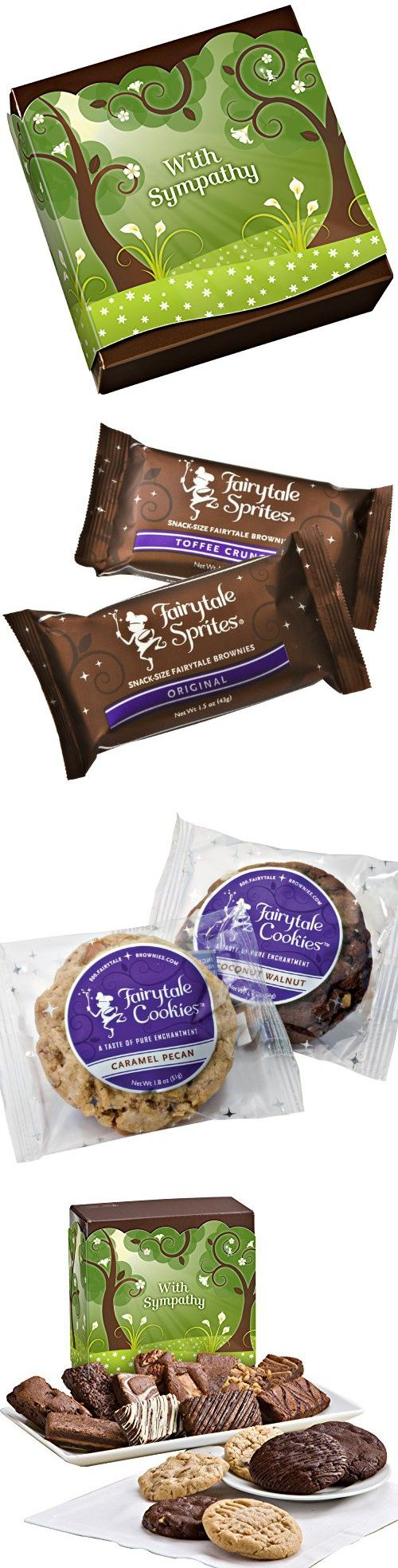 Fairytale Brownies Sympathy Cookie & Sprite Combo Gourmet Food Gift Basket Chocolate Box - 3 Inch x 1.5 Inch Snack-Size Brownies and 3.25 Inch Cookies - 18 Pieces