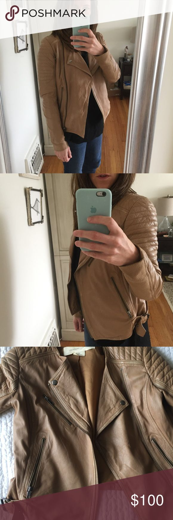 Treasure and Bond Camel Leather Jacket - XS Camel colored moto-style leather jacket from Treasure and Bond, purchased at Nordstrom. XS. In very good condition, with just a bit of wear noticeable on the arm (last photo). Treasure & Bond Jackets & Coats