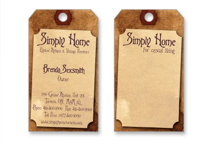 Antique Design Buisness Card | Card Designed To Resemble An Antique Style  Hanging Tag. Reverse Can Be ... | Buisness Card Inspiration | Pinterest |  Card ...