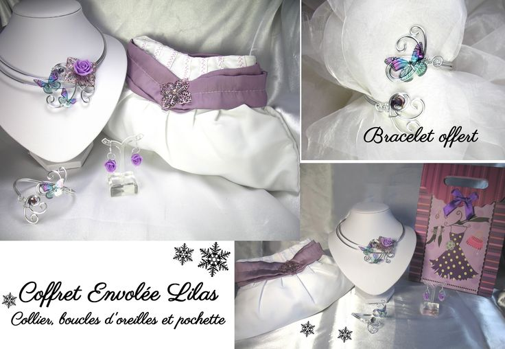 Coffret envolée lilas noël perles cristal