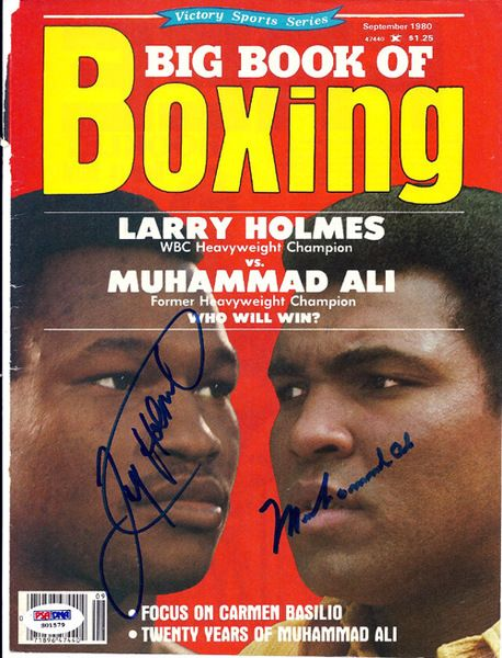 Muhammad Ali & Larry Holmes Autographed Big Book Of Boxing Magazine Cover PSA/DNA #S01579
