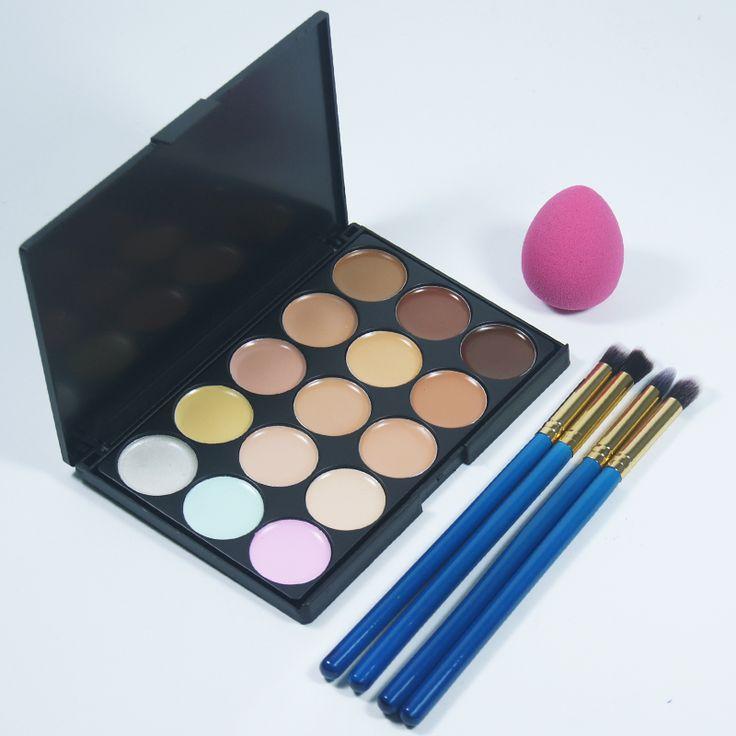 4 pz Trucco Ombretto Pennello Eyeliner E 1 Pz spugna cosmetica soffio + 15 colori per il viso fondotinta correttore crema trucco Strumenti Set