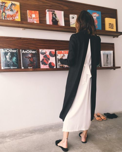 Shaina Mote tie dress // Nomia slit back linen duster // LCD...