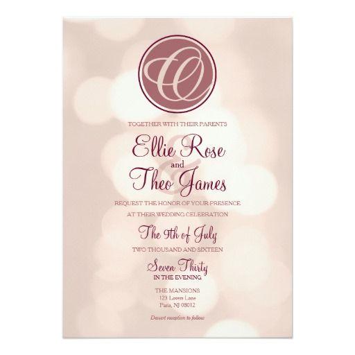 8 best theme invitations images on pinterest lyrics party monogram bokeh lights wedding invitation stopboris Images
