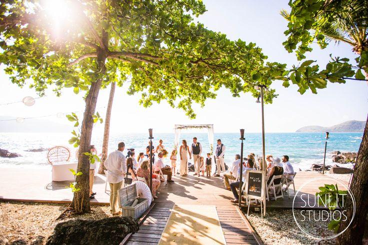 This beach wedding location is perfection! Captured on Daydream Island by Brisbane destination wedding photographers, Sunlit Studios