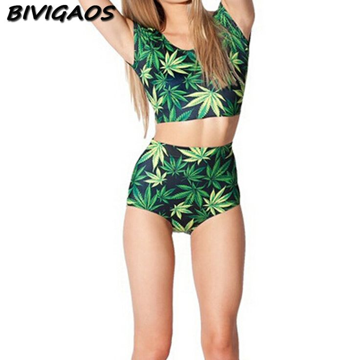 2016 New Fashion Summer Style Lovey Girls Swimsuit Swimwear Black Milk Hemp Leaf Weed Maillot De Bain Trajes De Bano Bathing