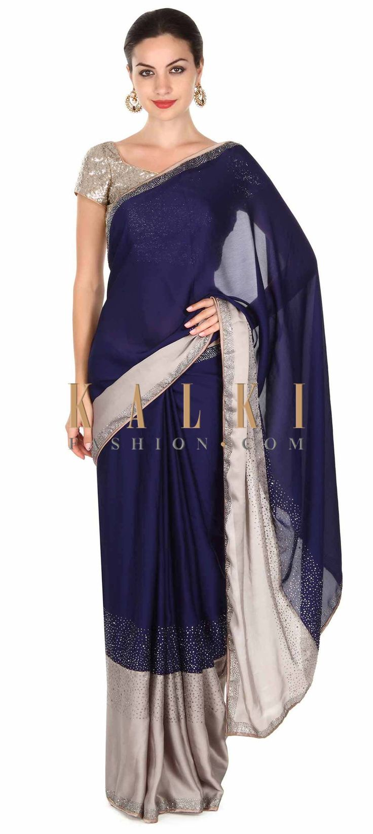 Buy this Navy blue and grey saree with kundan border only on Kalki