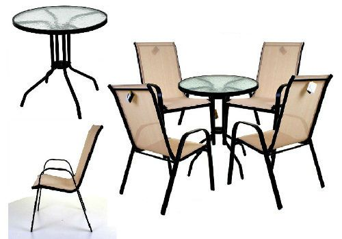 Bistro Glass Table & Chairs Cream Textoline Patio Furniture Set 5 Piece Outdoor  #MarkoOutdoor