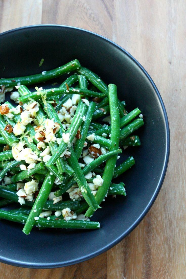 Green beans with feta, lemon and almonds I Kristin Cosgrove