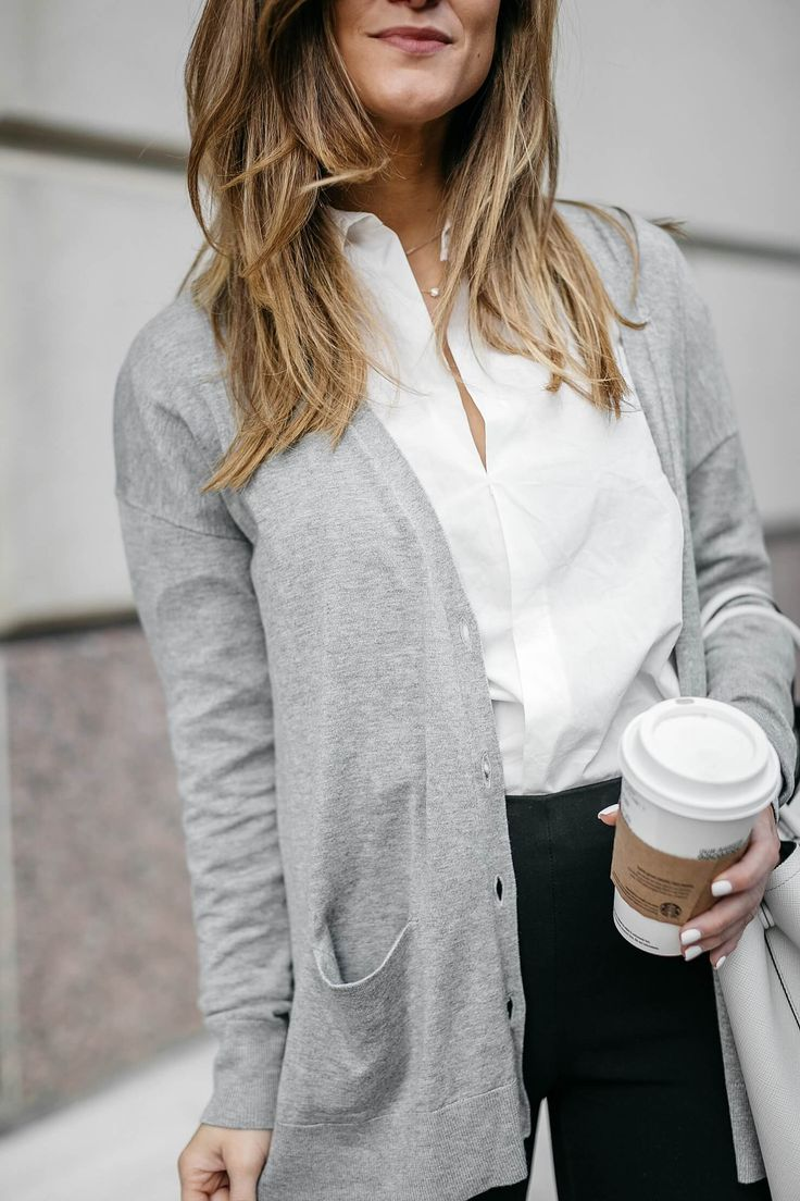 grey lightweight cardigan, white button down shirt, black ponte pants, and kitten heels // business casual outfit ideas