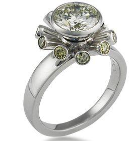 Engagement #ring by KrikawaFuturistic Engagement, Artists Engagement, Jewelry Design, Jewellery, Jewlery, Krikawa Jewelry, Green Diamonds, Center Diamonds, Engagement Rings