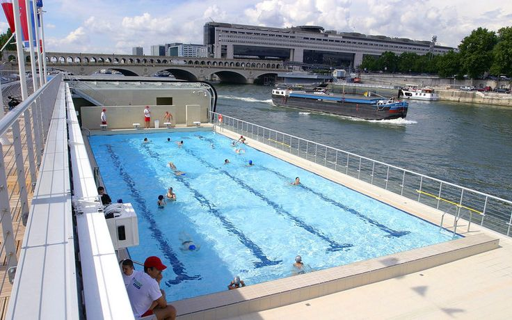 Piscine Josephine Baker, Paris HAS A RETRACTABLE ROOF http://equipement.paris.fr/piscine-josephine-baker-2930