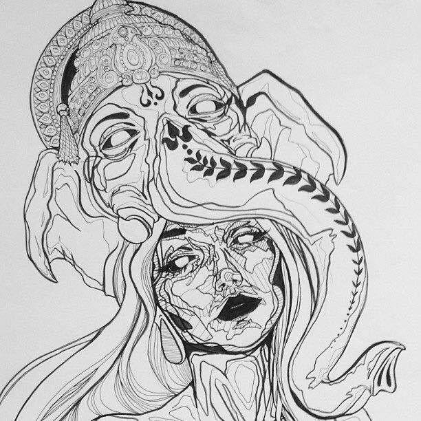 Beautiful; Trippy; Line Drawing; Monochrome; Elephant; Indian; Art