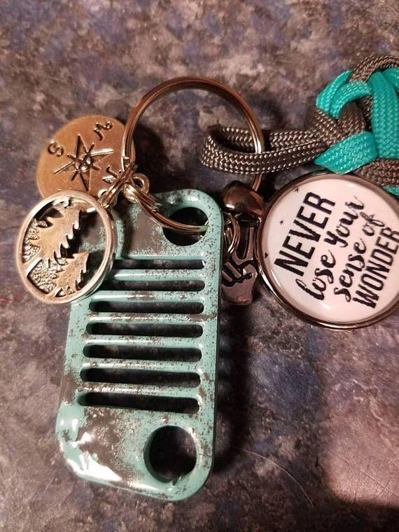 Jeep Grand Cherokee Key Ring Orange Wave Keychain