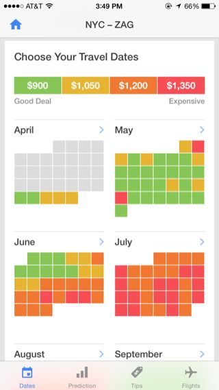 Hopper iPhone travel, booking, calendar screenshot