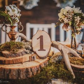 Рустикально-лесная свадьба в ресторане Бабушкин сад. - Свадебный букет, оформление свадьбы цветами, свадебное украшение зала, свадебные платья с цветами, украшение свадебных машин, свадебные аксессуары