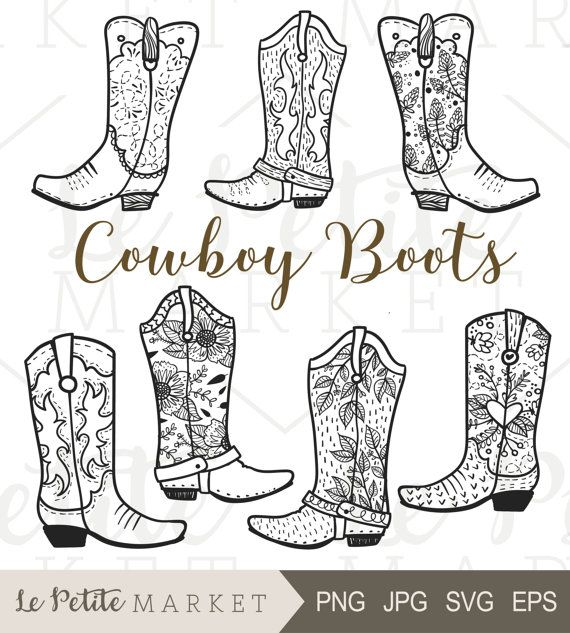 Cowboy Boot Clip Art, Hand Drawn Cowboy Boots, Cowgirl Boots Clipart, Cowboy Boot Digital Stamp, Western Boots ClipArt, Rodeo Clipart