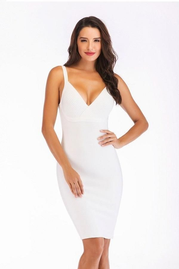 e948db5f42 Spaghetti Strap Bandage Open Back V Neck Bodycon Dresses in 2019 ...