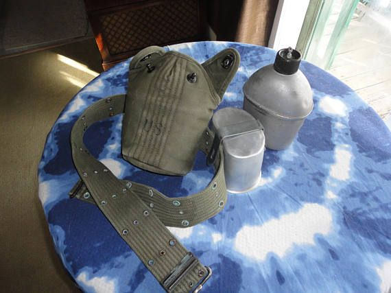 WWII US Army Water Canteen Green Canvas Cover Belt Strap And