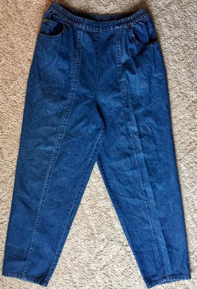 Anthony Richards Sz 14 High Waist Elastic Waist Pull On Jeans  | eBay