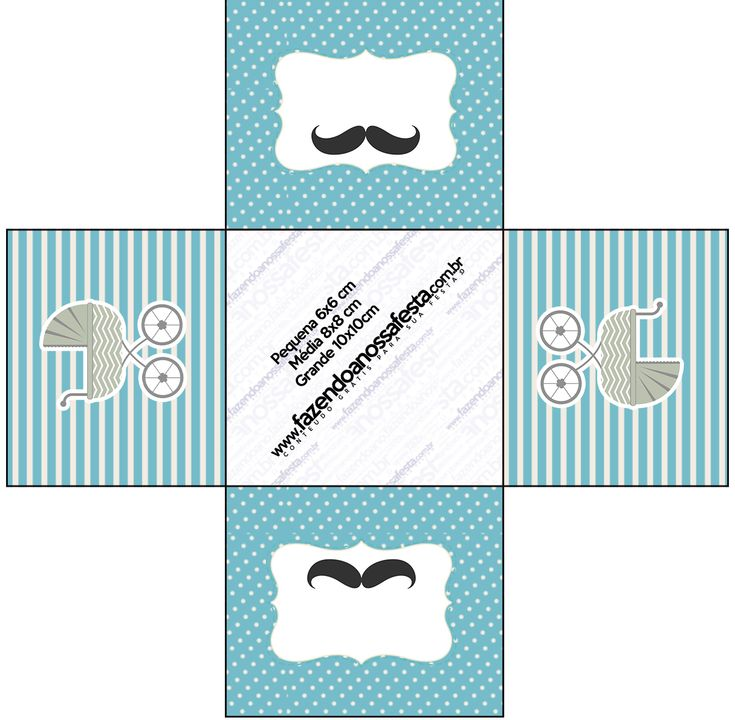 Forminhas Docinhos Quadrada Chá de Bebê Mustache