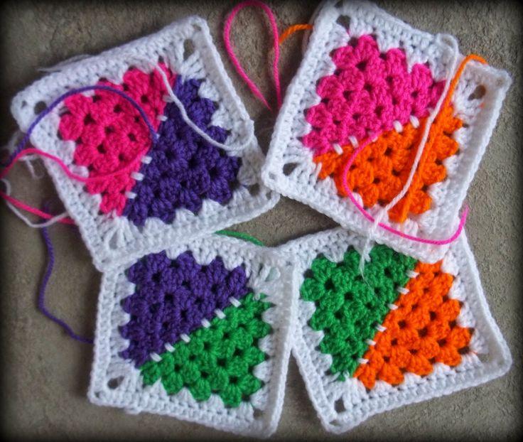 Rainbow Half Grannies Square Pattern: Baby Groovyghan CAL(2)