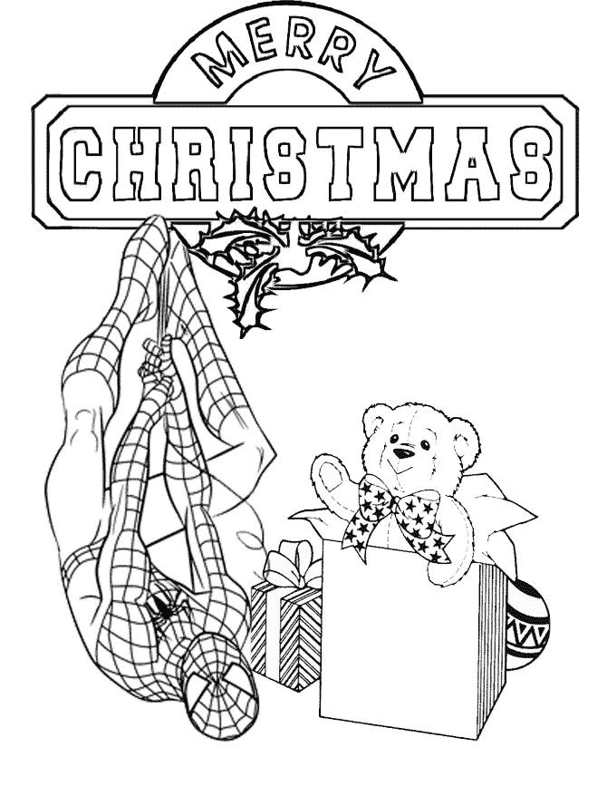 christmas avengers coloring pages | Spiderman Presents Christmas Coloring Page | Color My ...