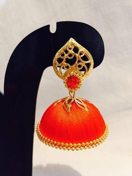 Orange stone studded Silk Thread Jhumka