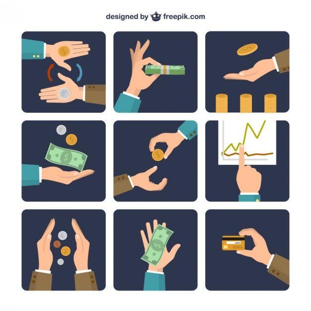 Money exchange icons Free Vector