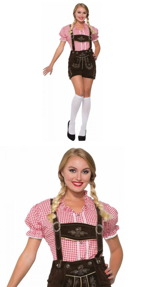 Women Costumes: Oktoberfest Girl Costume Adult Red Gingham Shirt German Maiden Fancy Dress -> BUY IT NOW ONLY: $15.69 on eBay!