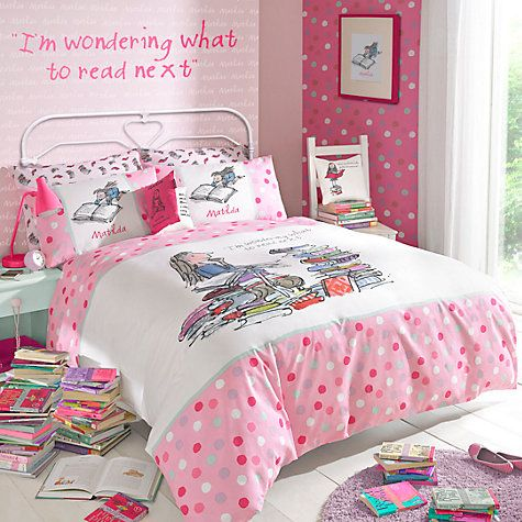 Matilda duvet cover set! I know it is incredibly pink and I am 22 years old BUT I NEED THIS!