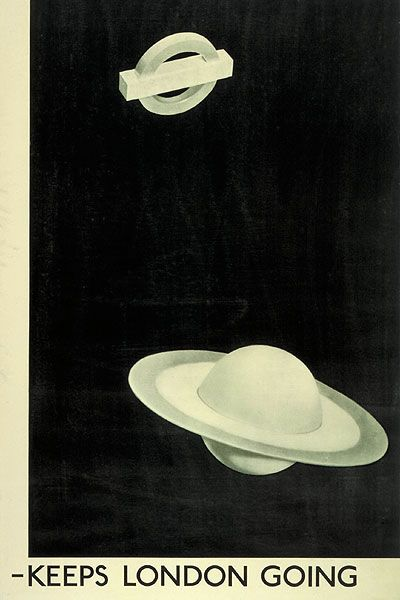 Keeps London Going; by Man Ray, 1938. Some London Underground posters were created by artists who are still renowned today. Born in 1890 in Philadelphia, Man Ray moved to Paris in 1921 where he joined the Dadaist group led by Andre Breton, and subsequently became involved in Surrealism. This poster's surrealist imagery is uncommon in London Transport posters, although traces of the aesthetic did influence other Underground poster designs over the last 100 years.