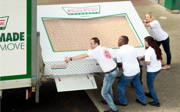 Krispy Kreme put together a box of 2,400 donuts to celebrate their new donut delivery services offered in the U.K.