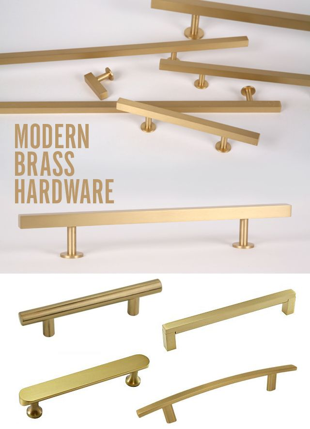 Modern satin brass hardware to update a vintage mid century furniture piece. Adds vintage style with a modern twist. Links to purchase sources provided.
