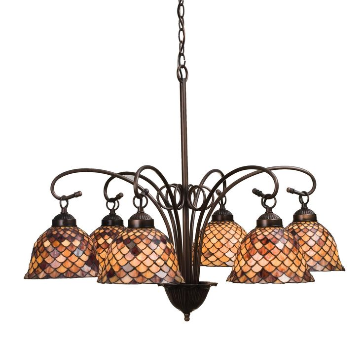 31 Inch W Tiffany Fishscale 6 Lt Chandelier. 31 Inch W Tiffany Fishscale 6 Lt ChandelierA Louis Comfort Tiffany studio classic fishscalepattern reproduced in variegated Tortoiseshell ofAmbers and Burgundy. This handsome stained glass shade is used with Mahogany Bronze hand finished hardware. Aversatile six light chandelier that will complement anycolor or style. Theme:  VICTORIAN TIFFANY ART GLASS NOUVEAU Product Family:  Tiffany Fishscale Product Type:  CEILING FIXTURE Product...